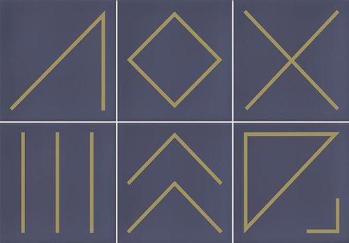 Faïence géométrique bleu marine/doré 23x33.5 cm NAGANO INDIGO-   - Echantillon - zoom