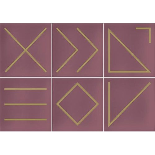 Faïence géométrique rose 23x33.5 cm NAGANO MARSALA -   - Echantillon Vives Azulejos y Gres