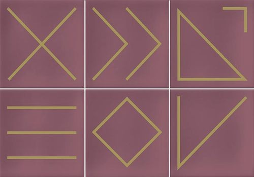 Faïence géométrique rose 23x33.5 cm NAGANO MARSALA -   - Echantillon - zoom