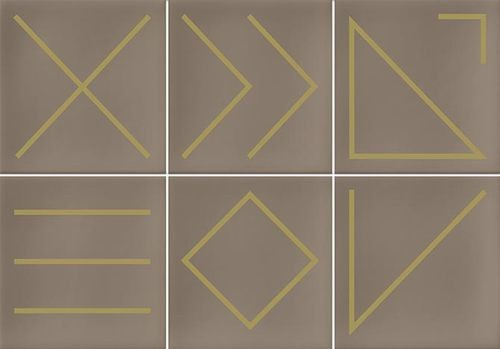 Faïence géométrique beige/doré 23x33.5 NAGANO NUEZ -   - Echantillon - zoom