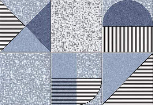 Faïence géométrique bleu marine 23x33.5 cm NAGO INDIGO-   - Echantillon - zoom