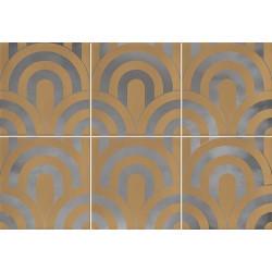 Faïence écaille caramel/argent 23x33.5 TAKADA CARAMELO PLATA - 1 unité - Echantillon Vives Azulejos y Gres