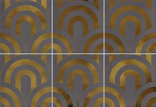 Faïence écaille gris/or 23x33.5 TAKADA MARENGO ORO - 1 unité - Echantillon - zoom