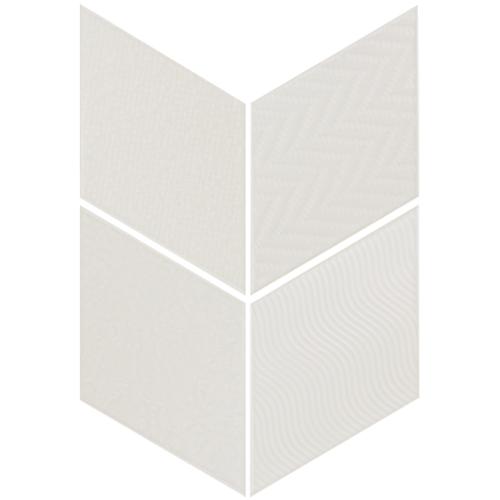 Carrelage losange diamant 14x24cm blanc cassé 21294 RHOMBUS RELIEF MAT -   - Echantillon - zoom
