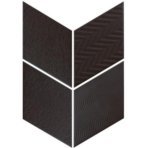 Carrelage losange diamant 14x24cm noir relief ref. 21295 RHOMBUS MAT -   - Echantillon Equipe