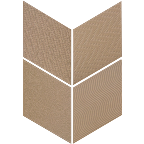 Carrelage losange diamant 14x24cm taupe relief ref. 21292 RHOMBUS MAT -   - Echantillon - zoom