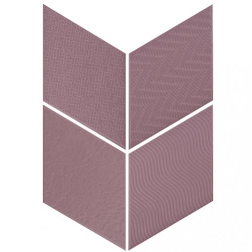 Carrelage losange diamant 14x24cm violet relief ref. 21313 RHOMBUS MAT -   - Echantillon Equipe
