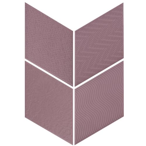 Carrelage losange diamant 14x24cm violet relief ref. 21313 RHOMBUS MAT -   - Echantillon - zoom