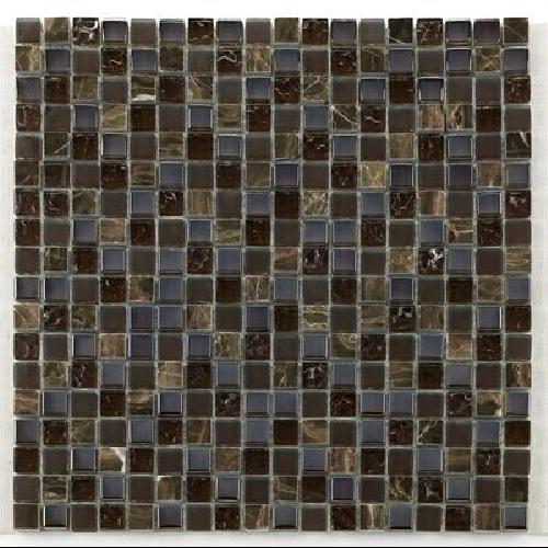 Glas naturstein brun 1.5x1.5 cm - 30x30 - unité - Echantillon - zoom