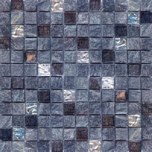 Malla Urales Negro - Mosaique marbre et verre 30x30cm - unité - Echantillon - zoom