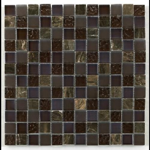Mosaique verre marron salle bain Glas naturstein brun 2.3x2.3 - 30x30 cm - unité - Echantillon - zoom