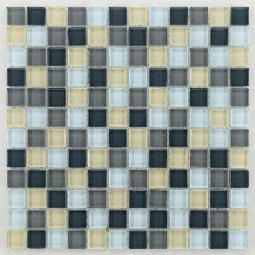 Glasmosaik silver grey mix 2.3x2.3 cm - 30x30 - unité - Echantillon - zoom