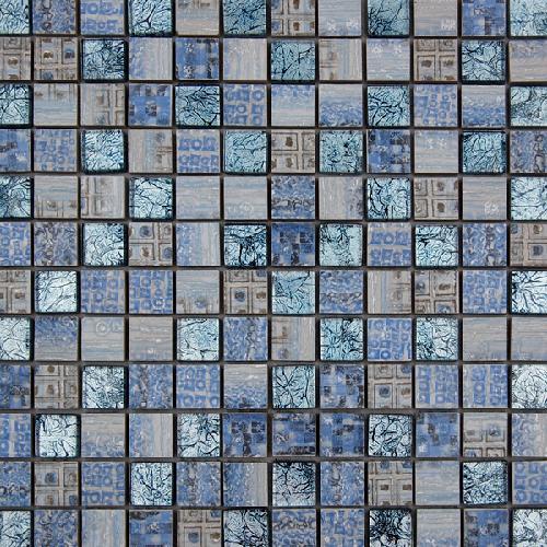 Malla Arte Celeste- Mosaique en verre et grès cérame 30x30cm - unité - Echantillon - zoom