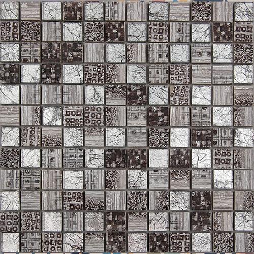 Malla Arte Gris- Mosaique en verre et grès cérame 30x30cm - unite - Echantillon - zoom