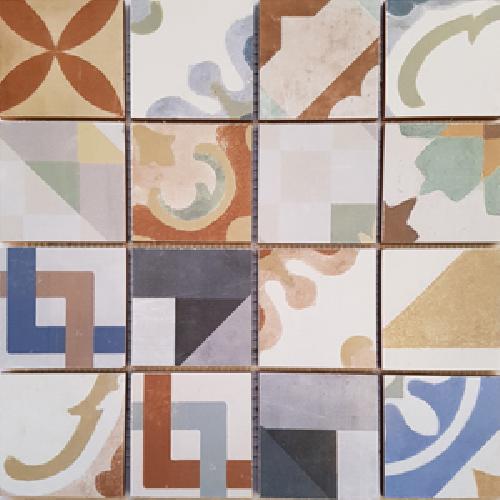 Malla Cartago - Mosaique grès 32x32cm - imitation ciment - unité - Echantillon - zoom