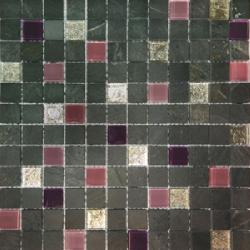 Malla Congo Lila - Mosaique marbre et verre 30x30cm - unité - Echantillon Decora
