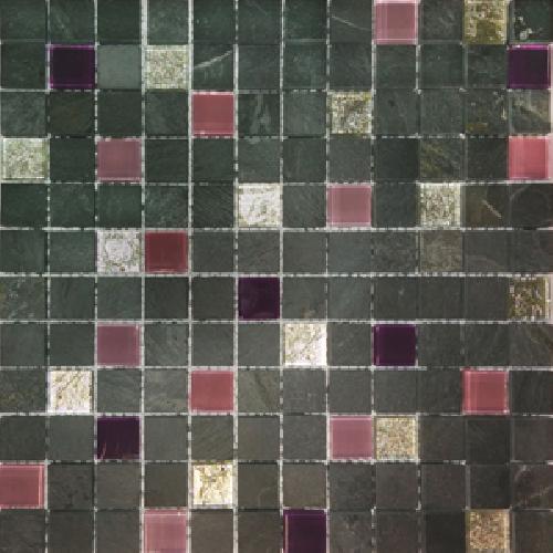 Malla Congo Lila - Mosaique marbre et verre 30x30cm - unité - Echantillon - zoom