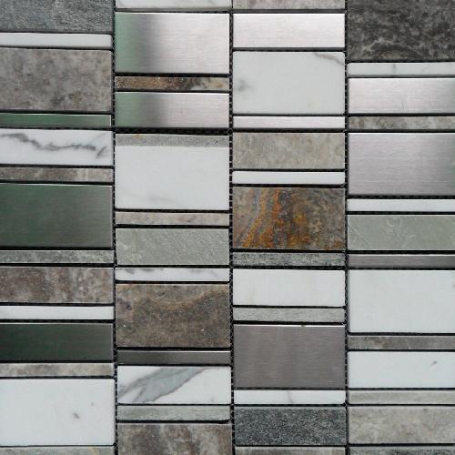 Malla Etrusco Gris - Mosaique en verre - Echantillon - zoom