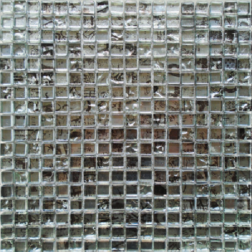 Malla Graffiti Silver - Mosaique en verre 30x30cm - unité - Echantillon - zoom