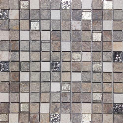 Malla Urales Gris - Mosaique imitation bois - grès cérame 30x30cm - unité - Echantillon - zoom