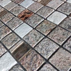 Malla Urales Rosa - Mosaique marbre et verre 30x30cm - unité - Echantillon Decora