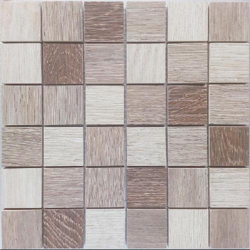 Malla Wood mix Beige - Mosaique imitation bois - grès cérame 29x29cm - unité - Echantillon - zoom