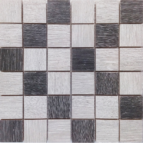 Malla Wood Mix Gris - Mosaique imitation bois - grès cérame 29x29cm - unité - Echantillon Decora