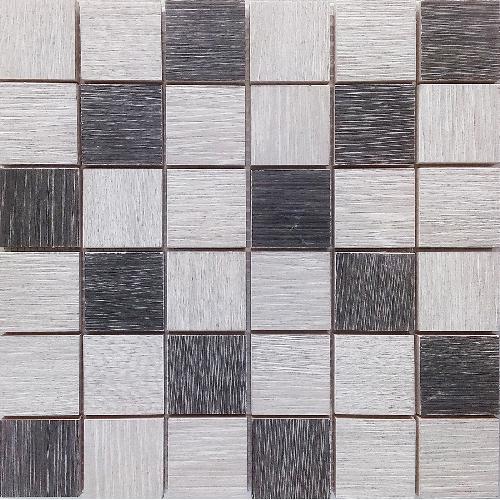 Malla Wood Mix Gris - Mosaique imitation bois - grès cérame 29x29cm - unité - Echantillon - zoom
