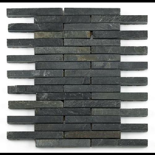 Mosaique ardoise noire 1.5x12.5 cm - unité - Echantillon Barwolf