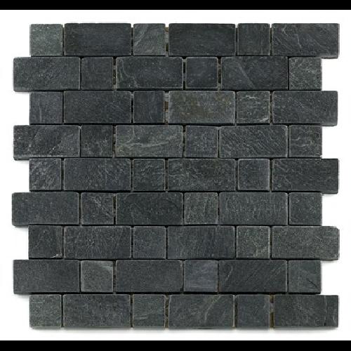 Mosaique ardoise noire 3x3 - 4.8 cm - unité - Echantillon - zoom