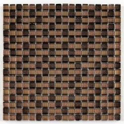 Mosaique Glasmosaik brun brillant 1.5x1.5 cm - 30x30 - unité - Echantillon Barwolf