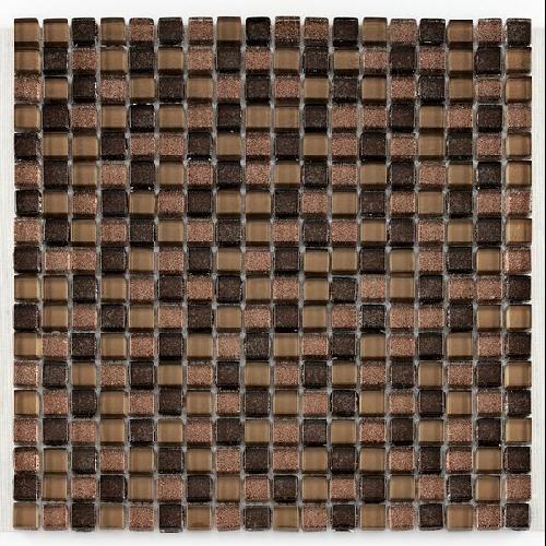 Mosaique Glasmosaik brun brillant 1.5x1.5 cm - 30x30 - unité - Echantillon - zoom