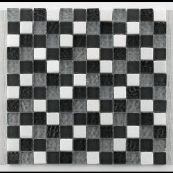Mosaique gris noir blanc Glasnaturstein tuscany silver grey 2.3x2.3 cm - 30x30 - unité - Echantillon Barwolf