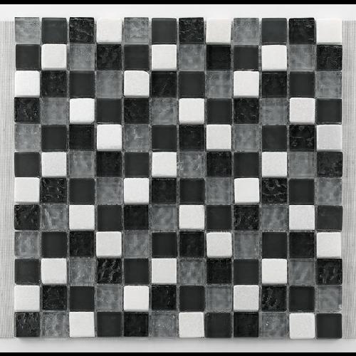 Mosaique gris noir blanc Glasnaturstein tuscany silver grey 2.3x2.3 cm - 30x30 - unité - Echantillon - zoom