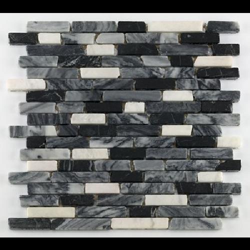 Mosaique marbre noir - Echantillon - zoom