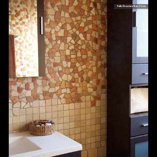 Mosaique Rocaplana - pierre rouge et beige 30x30 -     - Echantillon - zoom
