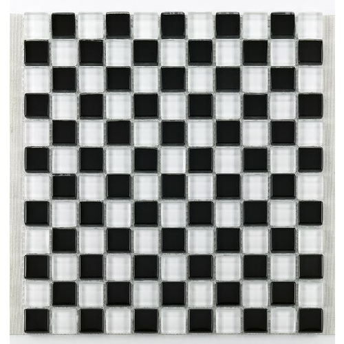 Mosaique salle bain Glasnaturstein noir et blanc 2.3x2.3 cm - 30x30 - unité - Echantillon - zoom