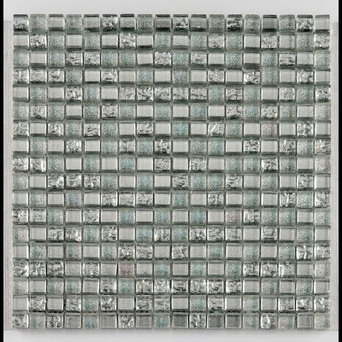 Mosaique salle de bain argent Glasmosaik silver ice 1.5x1.5 cm - 30x30 - unité - Echantillon - zoom