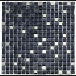 Mosaique salle de bain Glas metall noir 1.5x1.5 cm - 30x30 - unité - Echantillon Barwolf