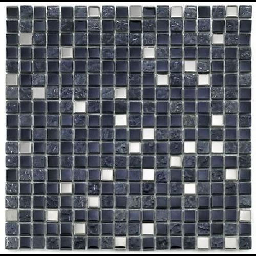Mosaique salle de bain Glas metall noir 1.5x1.5 cm - 30x30 - unité - Echantillon - zoom