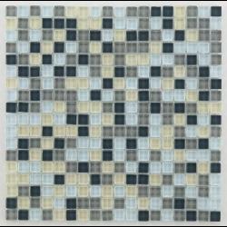 Mosaique salle de bain grise Glasmosaik silver grey mix 1.5x1.5 cm - 30x30 - unité - Echantillon Barwolf