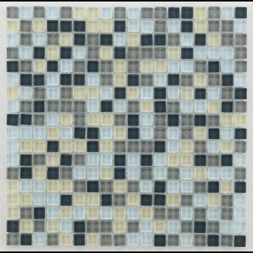 Mosaique salle de bain grise Glasmosaik silver grey mix 1.5x1.5 cm - 30x30 - unité - Echantillon - zoom