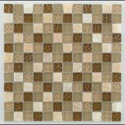 Mosaique salle de bain marron Glasmosaik tuscany natural 2.3x2.3 cm - 30x30 - unité - Echantillon Barwolf