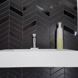 Chevron Wall black brillant ou mat 18,6x5,2 cm - 0.  - Echantillon Equipe