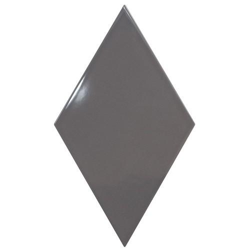 Faience losange gris anthracite brillant 15x26cm RHOMBUS WALL DARK GREY 22751 -   - Echantillon - zoom