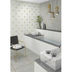 Faience murale blanche motif triangle or 32x99cm BARDOT-R Humo - 1 - Echantillon Vives Azulejos y Gres