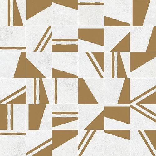 Carrelage motifs géométriques 20x20 cm Kokomo Blanc Or -   - Echantillon - zoom