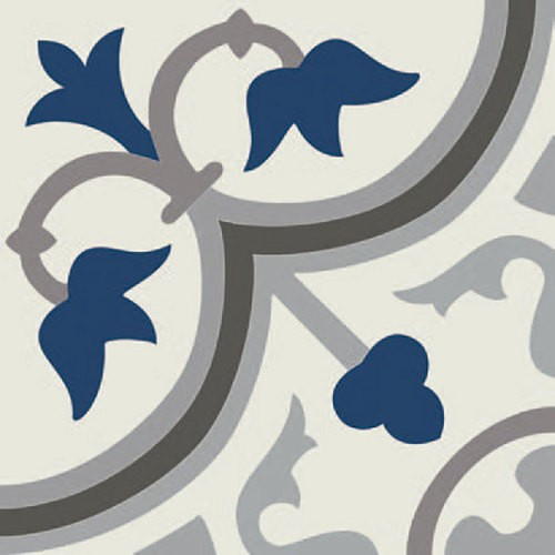 Carrelage imitation ciment décor bleu 20x20 cm PASION AZUL -   - Echantillon - zoom