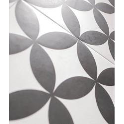 Carrelage Quatre-feuille noir 33x33 cm HANOI CIRCLE BLACK - - Echantillon Realonda
