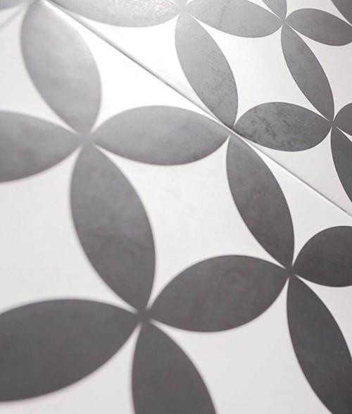 Carrelage Quatre-feuille noir 33x33 cm HANOI CIRCLE BLACK - - Echantillon - zoom